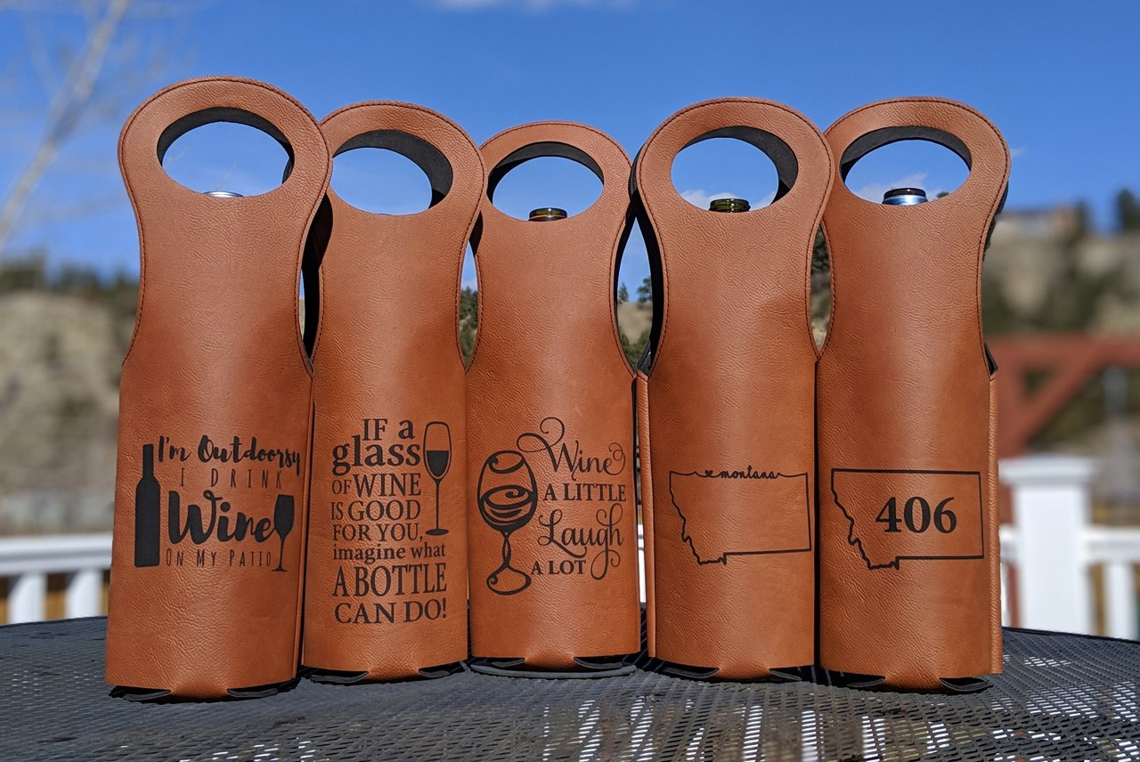 Leatherette Wine Tote w/ Engraving
