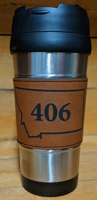 My Home in Montana Stainless Steel Travel Mug w/ Rawhide Montana 406 Leatherette Cozy | Naturally Montana