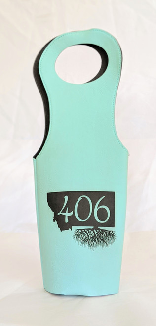 My Home in Montana 406 Roots Leatherette Wine Totes   Naturally Montana