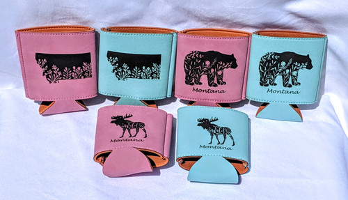 My Home in Montana Leatherette Drink Koozies Floral Designs Pink & Teal | Naturally Montana