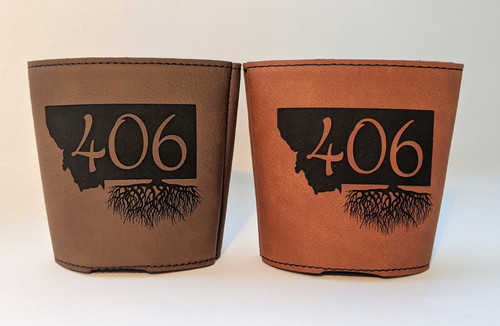My Home in Montana Leatherette Drink Koozies 406 Roots Dark Brown & Rawhide | Naturally Montana