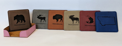 My Home in Montana Leatherette Coaster Set -  Animals With Holder | Naturally Montana