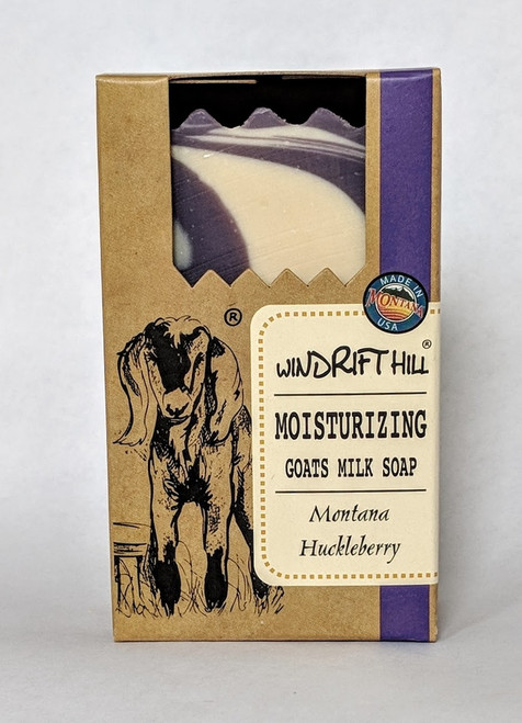Windrift Hill All Natural Goat's Milk Soap Bar Montana Huckleberry Front View | Naturally Montana