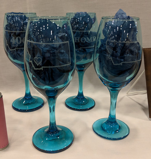 My Home in Montana Teal Wine Glasses Laser Engraved Montana | Naturally Montana