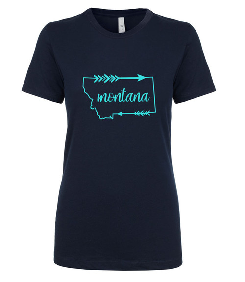 MT Brand Apparel MT Brand Apparel Montana Arrow Short Sleeve Ladies Crew Tee - Navy | Naturally Montana