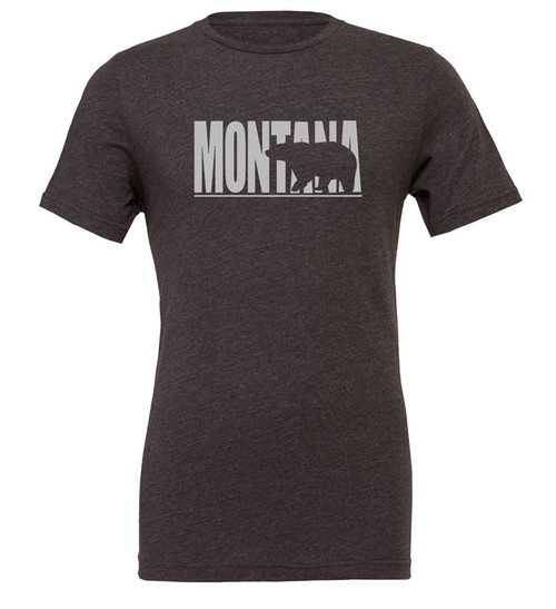 MT Brand Apparel Montana w/ Bear Silhouette Short Sleeve Unisex Tee - Charcoal | Naturally Montana