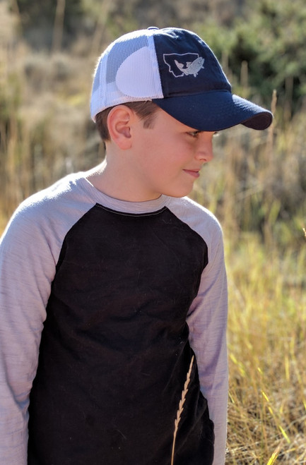 MT Brand Apparel Side Model of Kids Fish in MT Adjustable Trucker Hat - Navy | Naturally Montana