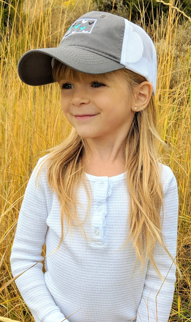 MT Brand Apparel Kids Montana w/ Mini Hearts Hat - Side View | Naturally Montana
