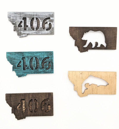 Knottypine Woodworks | Montana Shaped Magnets | Naturally Montana