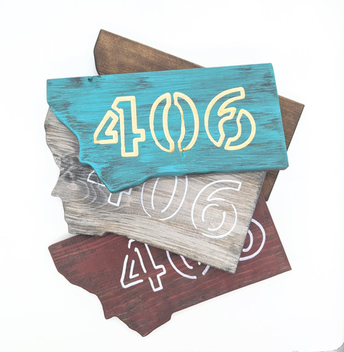 Knotty Pine Woodworks | 406 Montana Shaped Signs Scattered | Naturally Montana