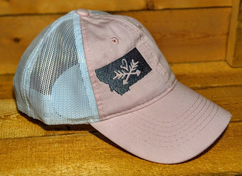 MT Brand Apparel Side View of MT w/ Heart Over Arrows Adjustable Trucker Hat - Pink   Naturally Montana