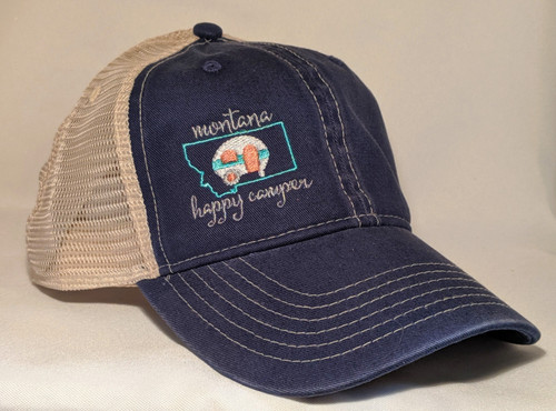 MT Brand Apparel Montana Happy Camper Hat Side | Naturally Montana