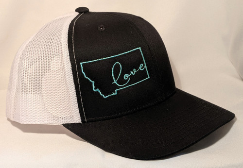 MT Brand Apparel Black with Teal Blue Love in Montana Hat - Adjustable | Naturally Montana -Side Angle
