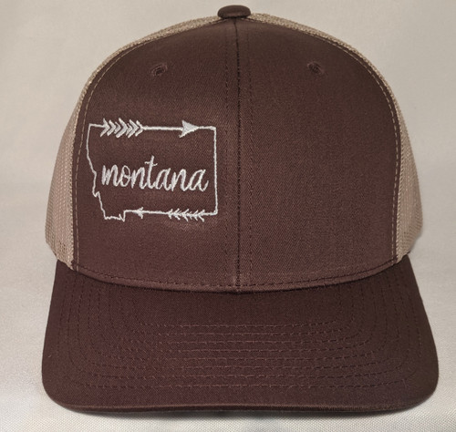MT Brand Apparel Brown Montana w/ Arrow Outline Hat - Adjustable | Naturally Montana - Front