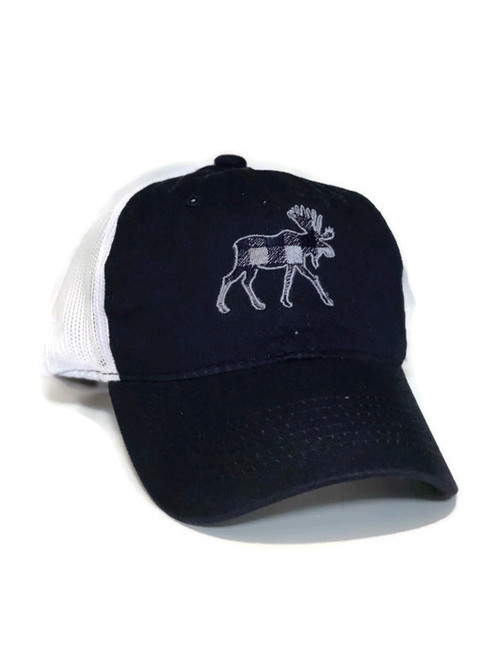MT Brand Apparel Kids Navy Plaid Moose Adjustable Hat | Naturally Montana