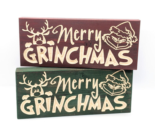 "Knotty Pine Woodworks | ""Merry Grinchmas"" Block Signs Staggered 