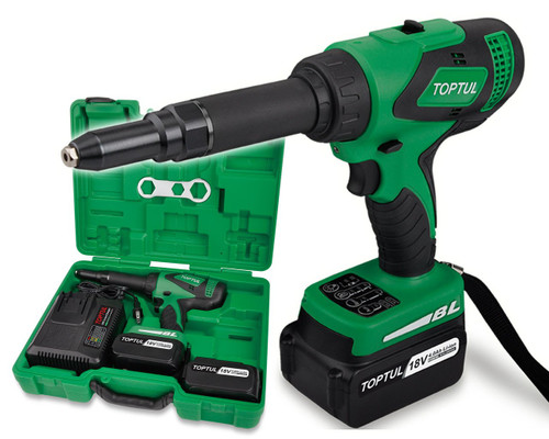 Toptul KPRA0306 Cordless Riveter Brushless 18V 4.0Ah Li-Ion Kit