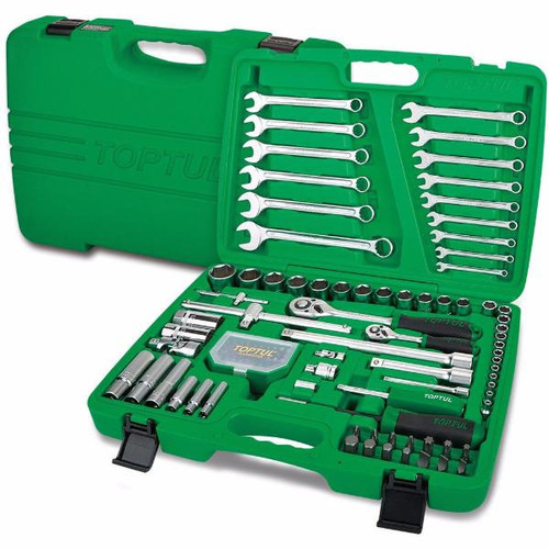 "Toptul GCAI106B Professional Grade Flank Socket Wrench Set 6PT 1/4"" & 1/2"" 106pcs"