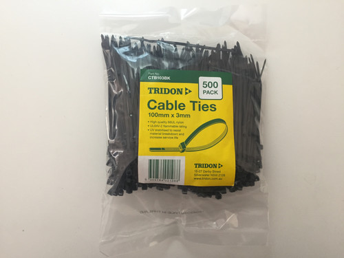 TRIDON - BLACK (UV STABILISED) - CABLE TIE - 3mm X 100mm