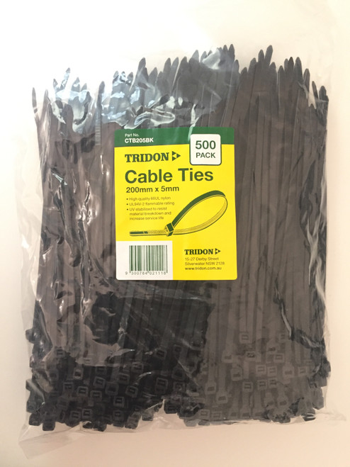 TRIDON - BLACK (UV STABILISED) CTB205BK - CABLE TIE - 5mm X 200mm