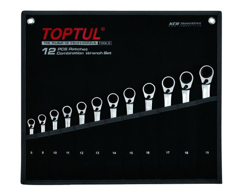Toptul GPAQ1203 Reversible Ratchet Combination Wrench Set 12pcs