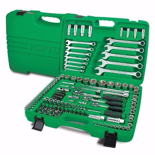 "Toptul GCAI130B Professional Grade Flank Socket Wrench Set 6PT 1/4"", 3/8"" & 1/2"" 130pc"
