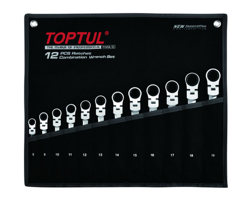 Toptul GPAQ1204 Flexible Ratchet Combination Wrench Set 12pcs