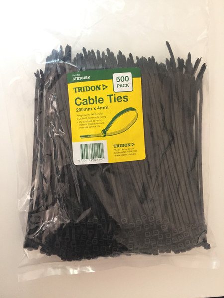 TRIDON - BLACK (UV STABILISED) CTB204BK - CABLE TIE - 4mm X 200mm