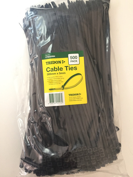 TRIDON - BLACK (UV STABILISED) CTB305BK - CABLE TIE - 5mm X 300mm