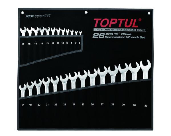 Toptul GPAW2601 Super Torque Combination 15° Wrench Set 26pcs