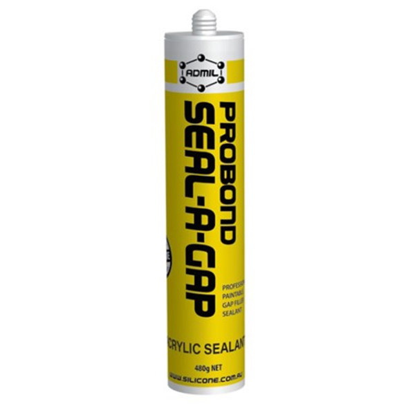 Probond Seal-A-Gap An acrylic construction gap filler, perfect for skirting, cornice, around windows and more.  PROBOND SEAL-A-GAP is a flexible one-part water-based acrylic gap sealant. It can be used both as a sealant or adhesive and has excellent adhesion to Plasterboard, cardboard, wood, concrete sheets etc. ideal for finishing around fitouts, cornice, skirting boards and more.
