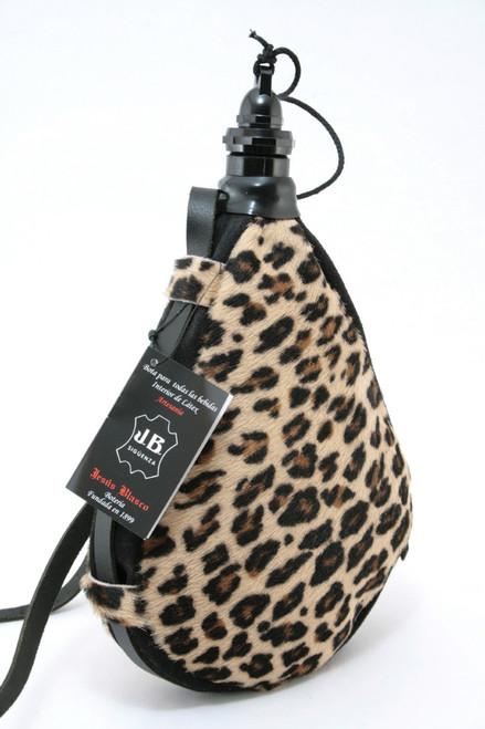 Spanish Bota de Vino Leather Bag Wineskin Wine Skin Leopard Made in Spain