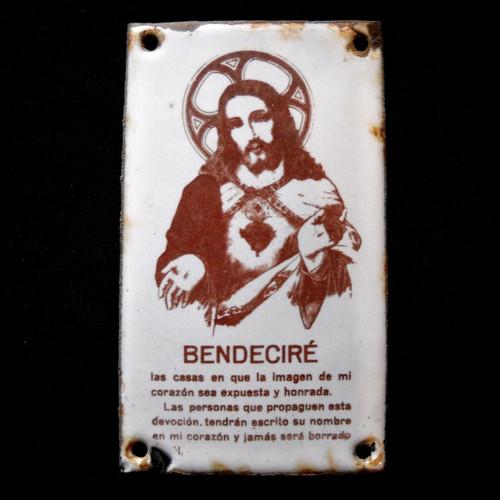 Vintage Christian Enameled Door Plaque Bendeciré (Spanish) Bless Our Home