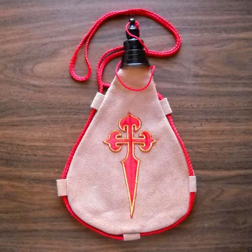 Camino de Santiago Pilgrim St. James Cross Cloth Patch Wine Skin New