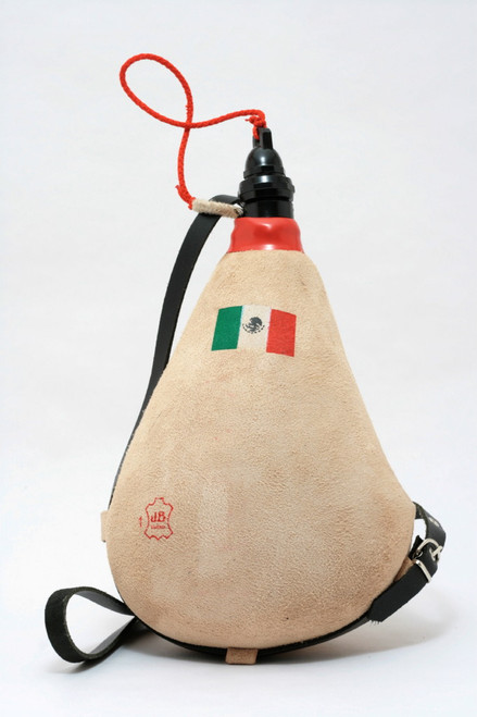Spanish Bota de Vino Leather Bag Wineskin 1 Liter Mexican Flag Wine Skin Made in Spain