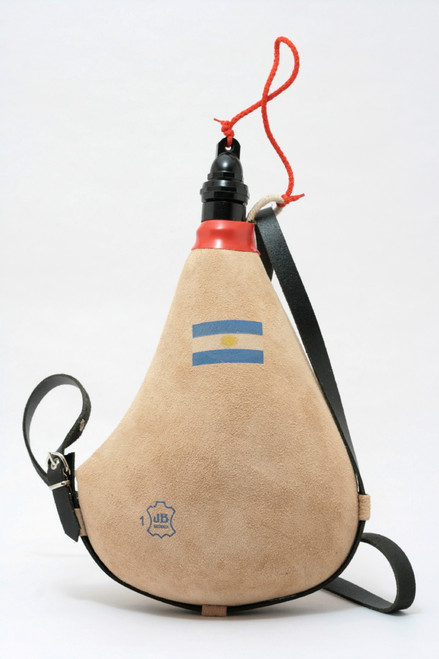 Spanish Bota de Vino Leather Bag Wineskin 1 Liter Argentina Flag Wine Skin Made in Spain