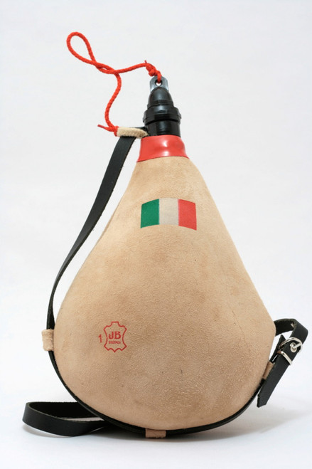 Spanish Bota de Vino Leather Bag Wineskin 1 Liter Italian Flag Wine Skin Made in Spain