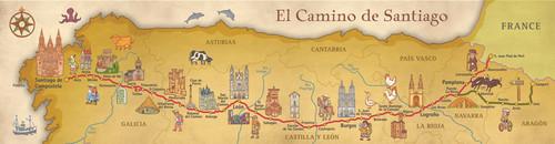 Camino De Santiago Pilgrim Souvenir Poster Map