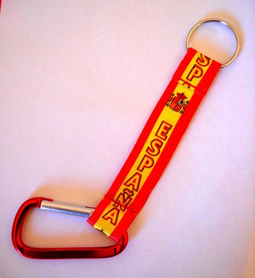 Spain National Flag Keyring Spanish Cloth Ribbon Key Ring
