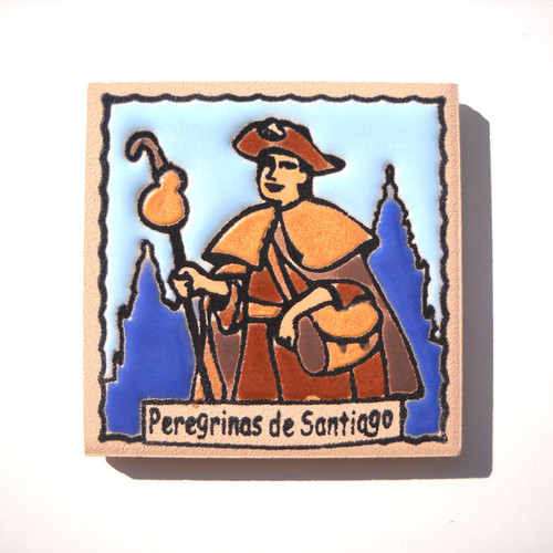 Camino de Santiago Women Pilgrim Tile Way Of St. James Fridge magnet Peregrina
