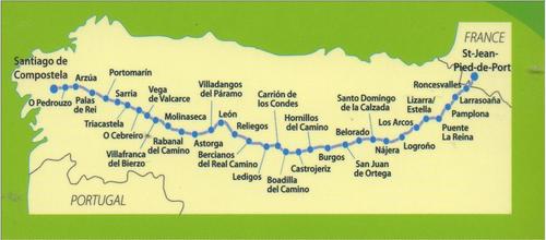 Camino de Santiago Michelin Stage Map / Guide - Camino Frances on