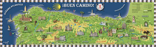 "Camino de Santiago  ""Buen Camino"" Extra Large Pilgrim Souvenir Poster Map"