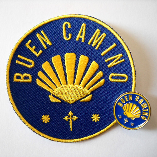 Camino de Santiago Buen Camino Pilgrim Cloth Patch and Pin