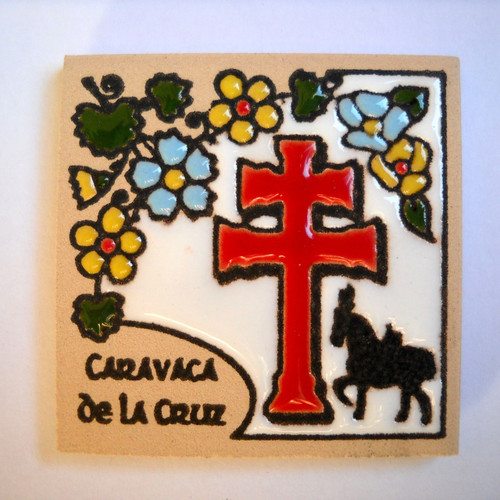 Caravaca Cross Magnet Tile (Red)