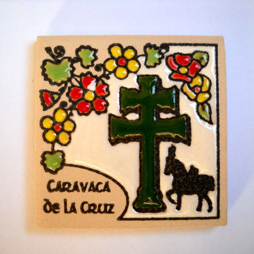 Caravaca Cross Magnet Tile (Green)