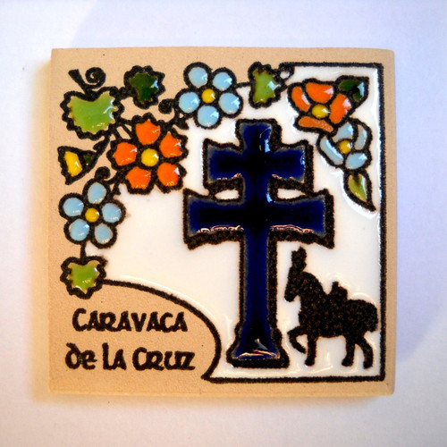 Caravaca Cross Magnet Tile (Dark Blue)