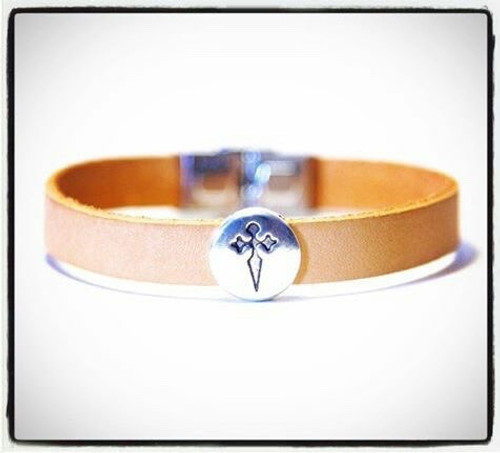 Camino de Santiago St James Cross Pilgrim Leather Bracelet