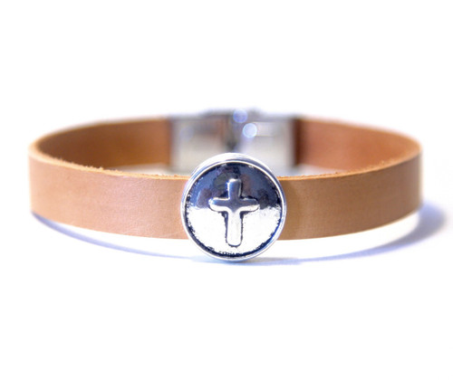 Camino de Santiago Pilgrim Leather Cross Bracelet