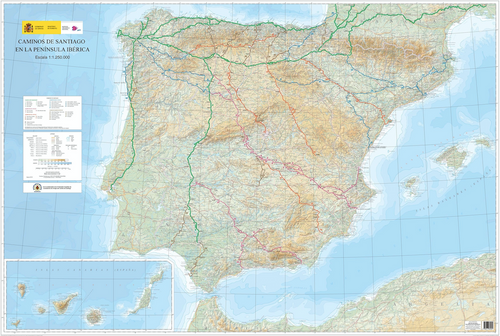 Caminos de Santiago in the Iberian Peninsula Extra Large Planning / Tracking Map Detail