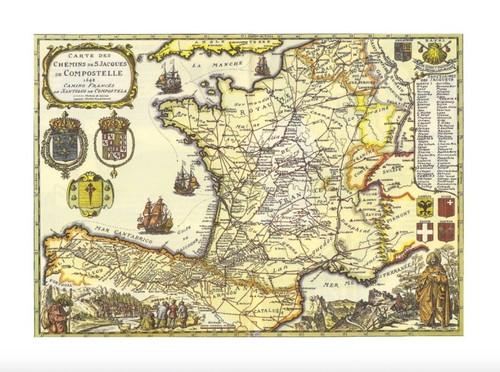 Map of the Camino Francés de Santiago de Compostela  54 x 40 cm